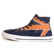All Star Converse Bleu Drapeau Britannique D'orange Chiffon Denim