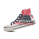 All Star Converse Bleu Drapeau Rouge Et Blanc Graffitis Lettres Usa