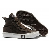 All Star Converse Chocolat Avec Bord En Cuir