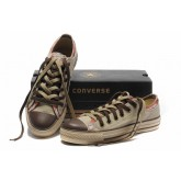 Converse All Star Soldes Oxford Plateforme Beige à Carreaux Orange Lacets Orteil Brun
