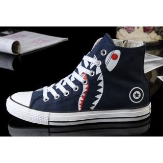 Converse All Star Pas Cher Requin Bleu Fermeture éclair Imprimée