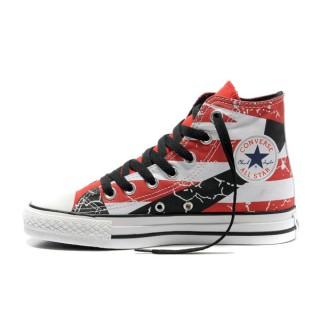 Converse All Star Pas Cher Usa Drapeau Graffiti Peint En Rouge Blanc Noir