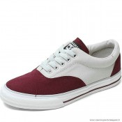 Antiskid Chaussures Converse All Star Basse Suede Blanche Profond Rouge