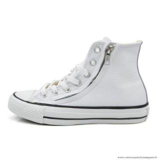 Antiskid Chaussures Converse Chuck Taylor All Star Zip Haute Cuir Blanche