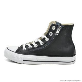 Antiskid Chaussures Converse Chuck Taylor All Star Zip Haute Cuir Noir
