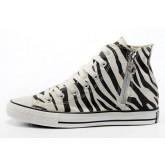 Chaussures Converse Motifs Noir Zébrées Blanc Tirette