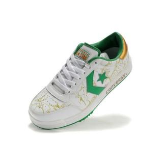 Chaussures Converse Pro Cuir Blanc Millésime étoile Verte Or