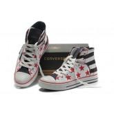 Chaussures Converse Usa Drapeau Blanc Avec étoile Rouge Bleu Noir