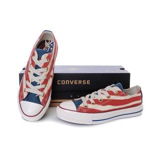 Chaussures Converse Usa Flag Blanc Rouge Avec La Langue Bleue