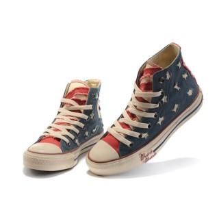Chaussures Converse Usa Flag Chiffon Bleu Langue Rouge