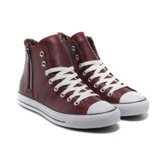 Chaussures Converse Vin Cuir Rouge Léopard Glissière
