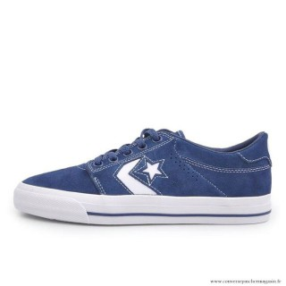 Chaussures Homme Skateboard Converse Cons Basse Suede Bleu Blanche