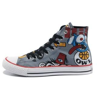 Chaussures Converse X Gorillaz Graffitis Impression Grise
