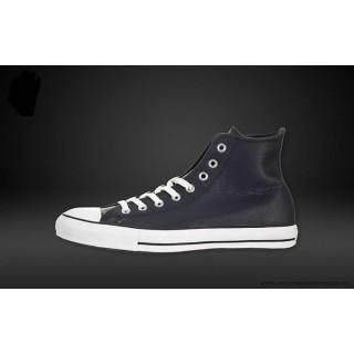 Converse Chuck Taylor All Star Haute Cuir Chaussures Bleu Marine Blanche