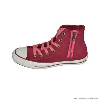 Chuck Taylor Converse All Star Femme Haute Suede Magenta Rose