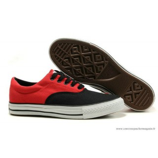 Converse All Star Basse Toile Noir Rouge
