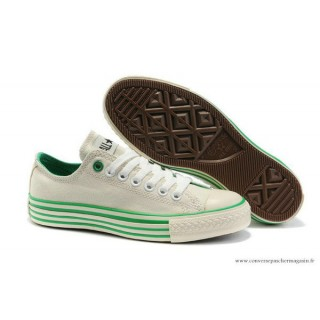 Converse All Star Basse Toile Stripes Beige Vert Femme