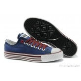 Converse All Star Basse Toile Stripes Bleu Bordeaux