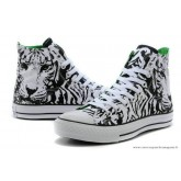 Converse All Star Classic Tiger Patterned Haute Toile Chaussures Zèbre Noir Blanche