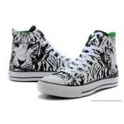 Converse All Star Classic Tiger Patterned Haute Toile Chaussures Zèbre Noir Blanche