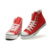 Converse Pas Cher Converse All Star Cuir Velours Rouge