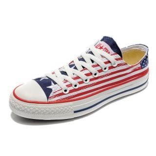 Converse Pas Cher Converse All Star Drapeau Rouge Usa Rayures Blanc Avec La Langue Bleue
