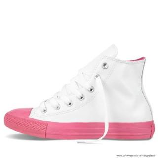 Converse All Star Haute Cuir Chaussures Blanche Magenta Femme