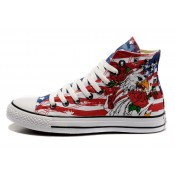 Converse All Star Pas Cher Usa Drapeau Aigle Impression Rives Rouge Bleu Langue Blanche