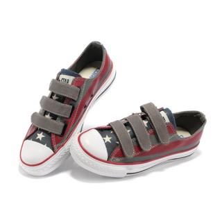 Converse All Star Pas Cher Usa Drapeau Velcro Bandes Peintes De Rouge Gris