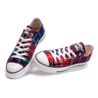 Converse All Star Soldes Plaid Rouge Bleu