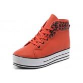 Converse All Star Soldes Plate-forme De Léopard Orange Cuir Rouge