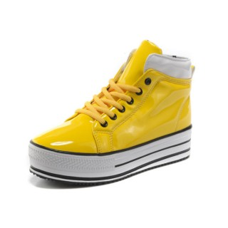 Converse All Star Soldes Plate-forme Jaune Cuir Brillant