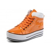 Converse All Star Soldes Plateforme Cuir Brillant D'orange