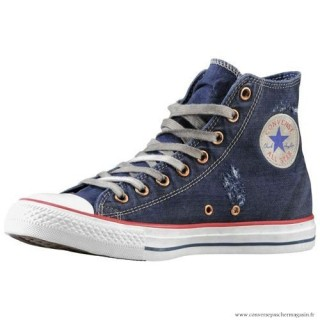 Converse Bleu Blanche All Star Haute Toile Chaussures Pour Homme