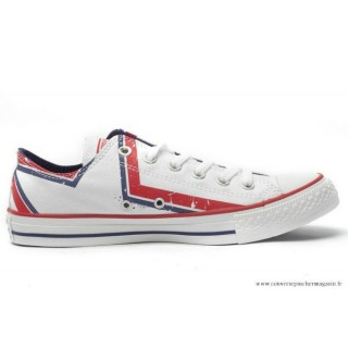 Converse Chuck Taylor All Star Basse Femme Stripes Rouge Blanche