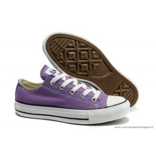 Converse Chuck Taylor All Star Basse Femme Toile Lila Blanche