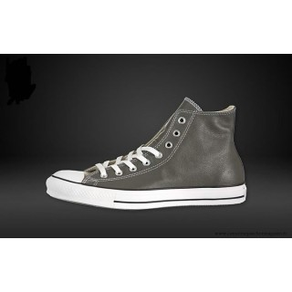 Converse Chuck Taylor All Star Haute Cuir Chaussures Charcoal Blanche