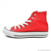 Converse Chuck Taylor All Star Haute Toile Chaussures Rouge Blanche