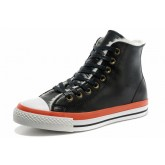 Converse France Chuck Taylor All Star Shearling Douce Sieste Cuir Noir Orange