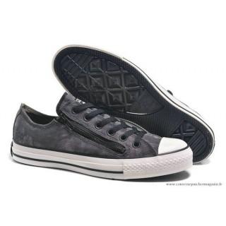 Converse Chuck Taylor All Star Zip Basse Toile Chaussures Pour Homme Grise Noir