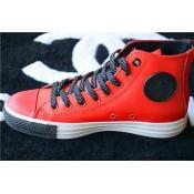 Converse Chuck Taylor All Star Zip Haute Cuir Rouge Noir