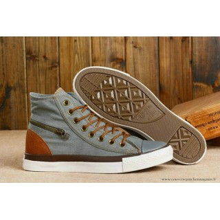 Converse Chuck Taylor All Star Zip Haute Toile Grise Chocolat
