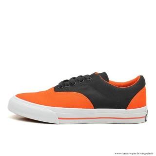 Converse Cons Basse Toile Chaussures Orange Noir