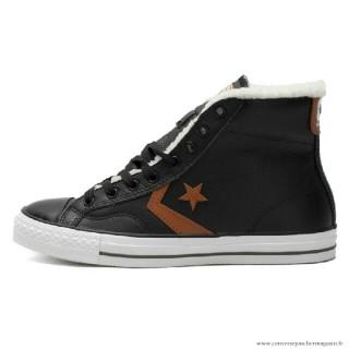 Converse Cons Haute Avec Velours Cuir Chaussures Noir