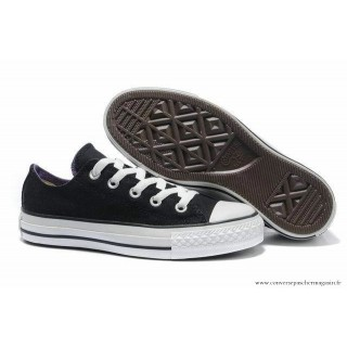 Converse Double Tougue Basse Toile Noir Lila