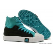 Converse Double Upper Chuck Taylor All Star Haute Noir Bleu Royal