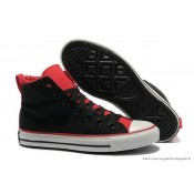 Converse Double Upper Chuck Taylor All Star Haute Toile Noir Rouge