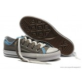 Converse Double Upper Tongue All Star Basse Grise Clair Bleu