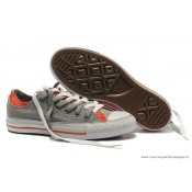 Converse Double Upper Tongue All Star Basse Toile Grise Orange