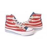 Converse France Drapeau Rouge Usa Blanc Avec La Langue Bleue